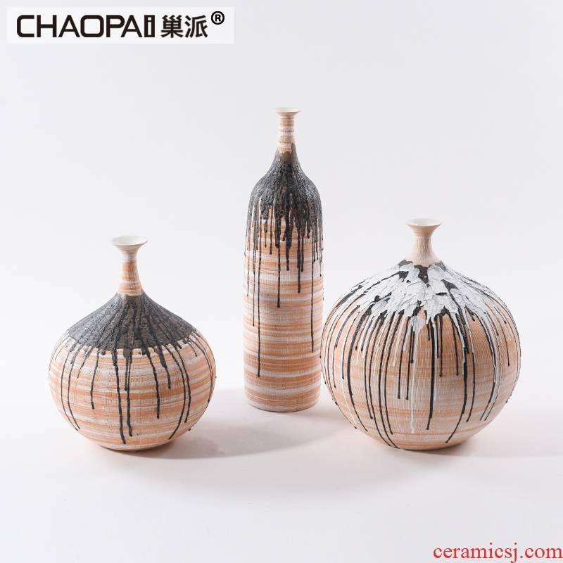 Postmodern new Chinese art of ceramic vase furnishing articles sitting room tea table table soft outfit pot belly decoration