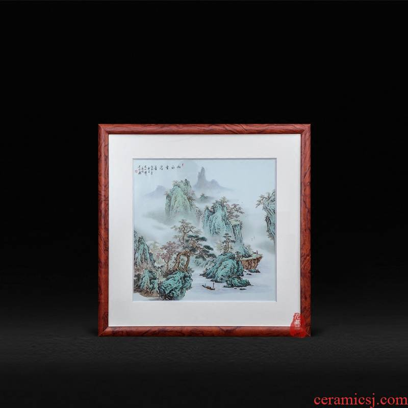 Jingdezhen ceramic Zhou Xiaohui hand - made scenery have surd adornment porcelain plate paintings hanging paintings of Chinese style living room furnishing articles
