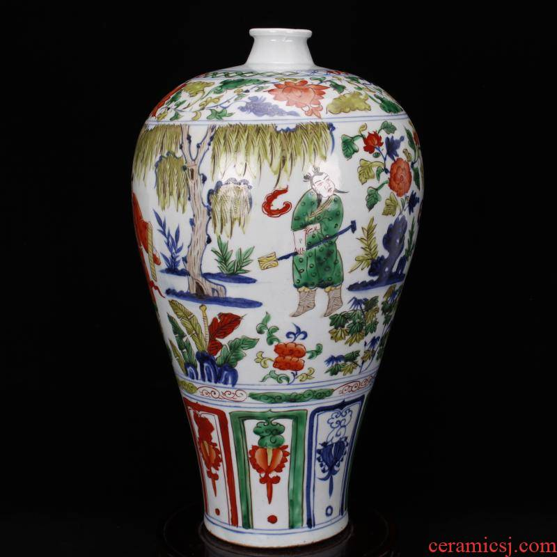 Jingdezhen antique antique imitation yuan mei bottle pure hand draw colorful characters ancient ceramic decoration old items collection