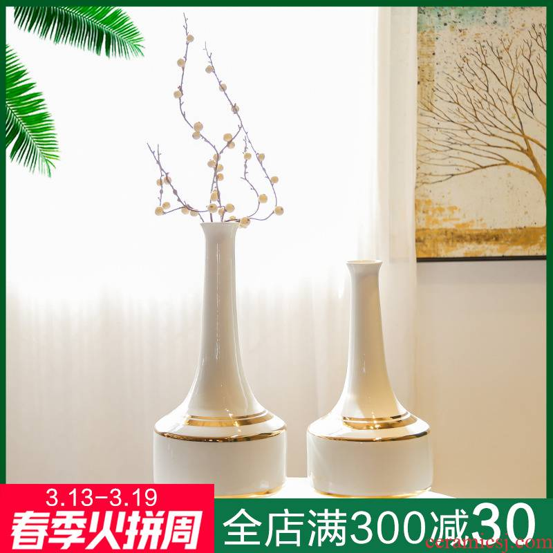 Jingdezhen ceramic light decoration key-2 luxury mesa place large vases, flower, flower implement of new Chinese style villa hotel mock up room