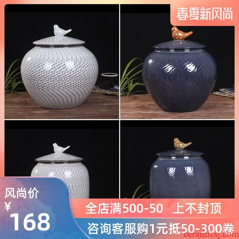 Jingdezhen household moistureproof ceramic cylinder barrel ricer box 20 jins 30 jins the loaded with cover cylinder tank rice storage tank