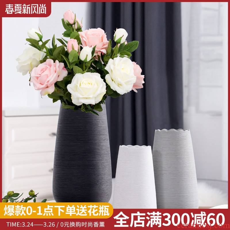 Nordic I and contracted land sitting room creative flower arranging dried flower ceramic vases, furnishing articles home decoration decoration