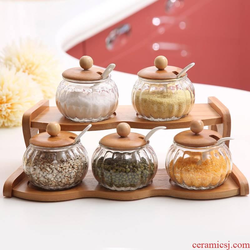 Creative ceramic seasoning jar of Korean sauce seasoning box of glass bottle three bottles of salt shaker suit hutch