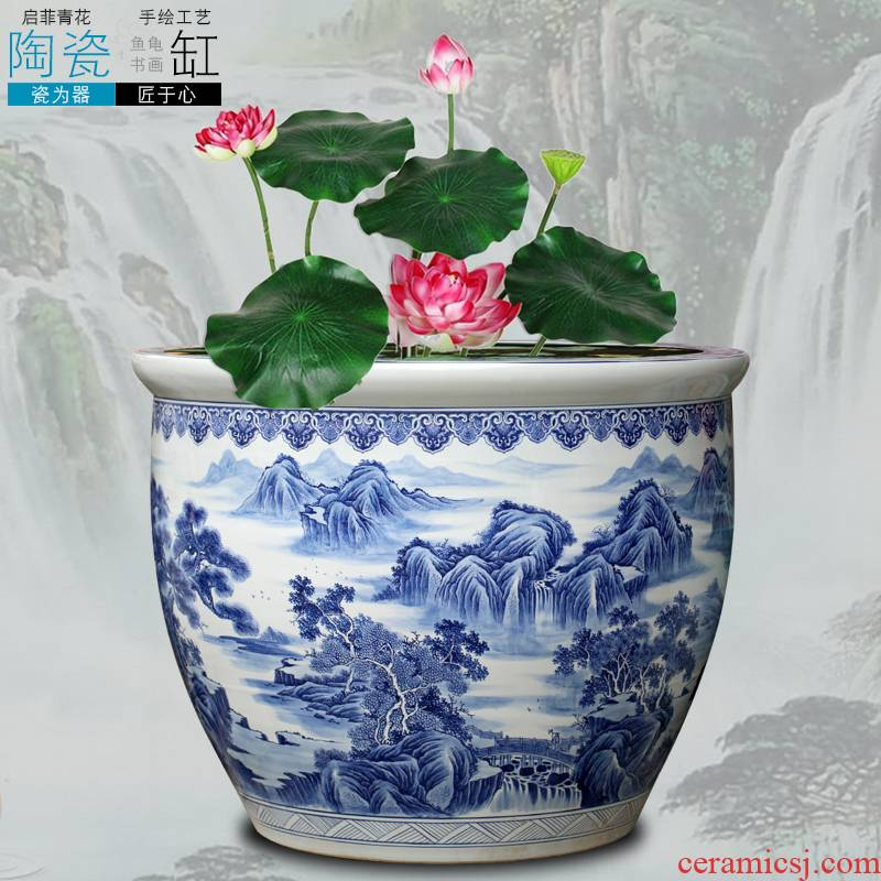 Jingdezhen blue and white porcelain painting landing fish tank large furnishing articles home sitting room study office decoration