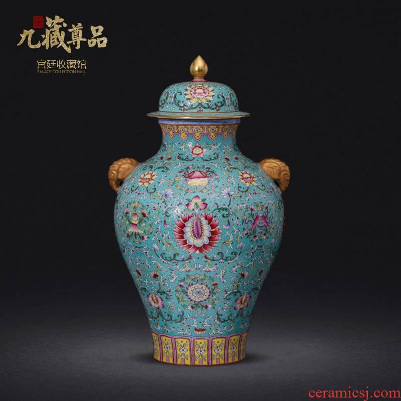 Jingdezhen ceramics imitation the qing qianlong enamel colors branch grain see colour ear vase collection crafts