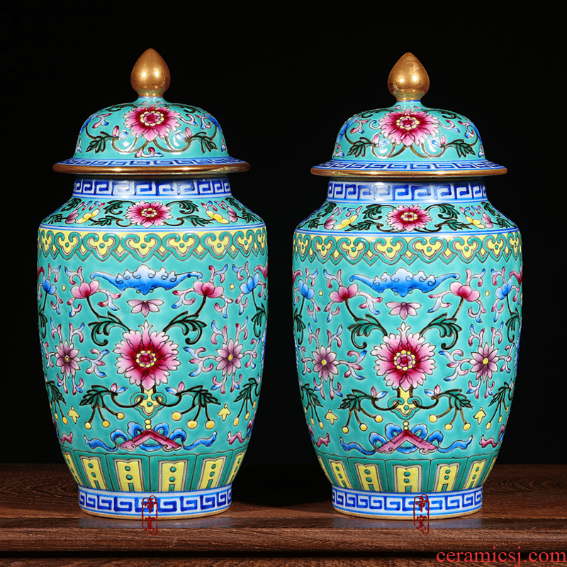 Imitation the qing qianlong colored enamel paint cover can of jingdezhen ceramics hand - made vases Chinese crafts are sitting room