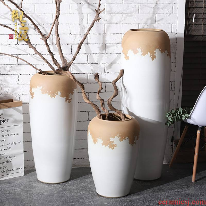 Jingdezhen ceramic large vases, flower arrangement sitting room place white I and contracted POTS manual landing window