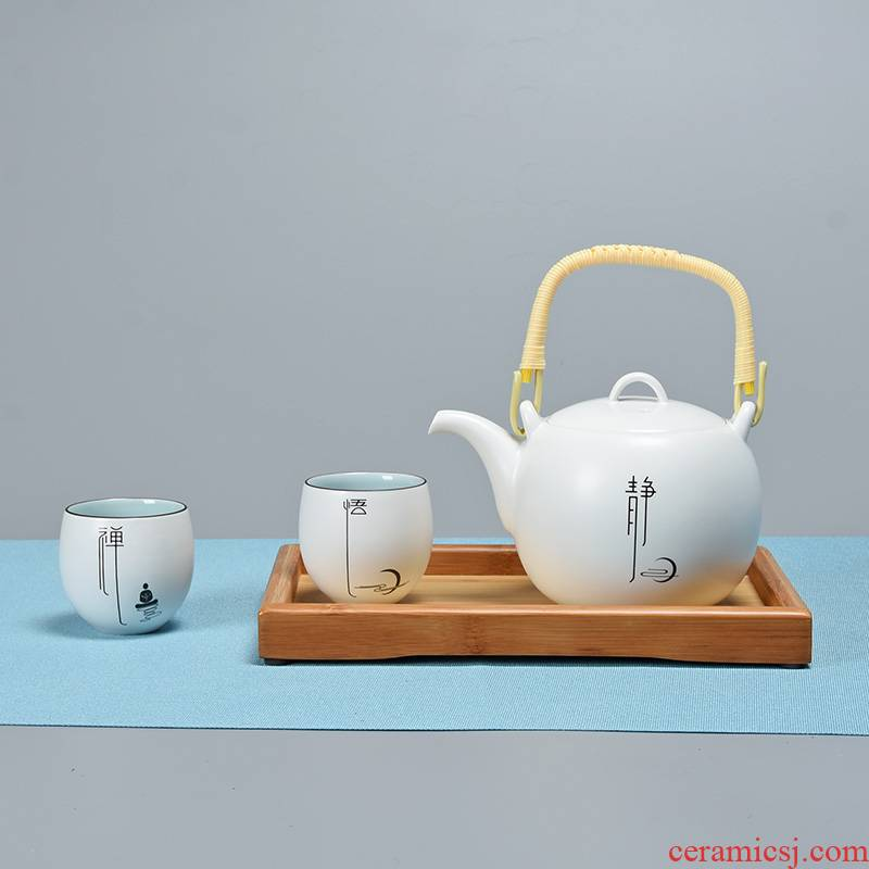 Jun ware fat white zen tea sets of small up porcelain kung fu tea pot a pot of bamboo trays to girder two cups