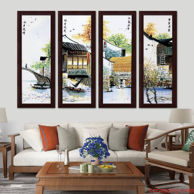 I household adornment jingdezhen ceramic plate sitting room mural painting porch vertical version stairwells hangs a picture of the corridor