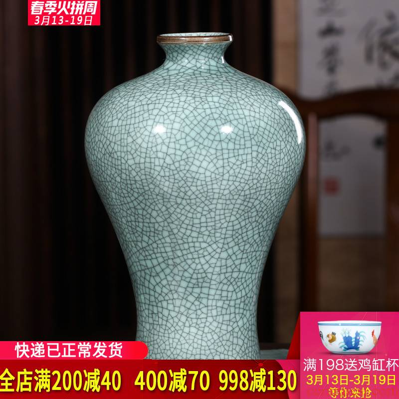 Jingdezhen ceramics borneol crack glaze antique vases, flower arranging classical Chinese wine sitting room adornment is placed