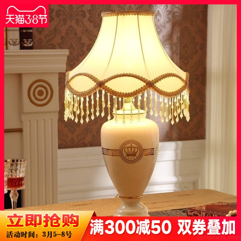 The Crown European - style bedroom adornment lamp furnishing articles household soft outfit ceramics handicraft sitting room adornment bedside lamp