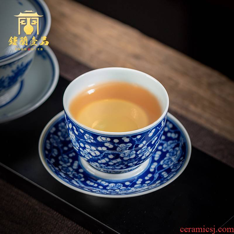 Jingdezhen blue and white may maintain ice tea set suits for all hand - made kung fu ceramic cups tea bowls