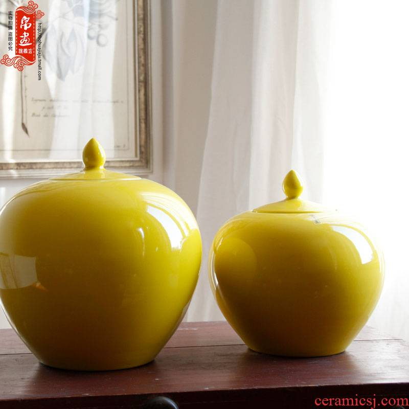 Jingdezhen ceramic tea pot storage tank is lemon yellow glazed POTS and heavily the receive a jar of Chinese style household decorative furnishing articles