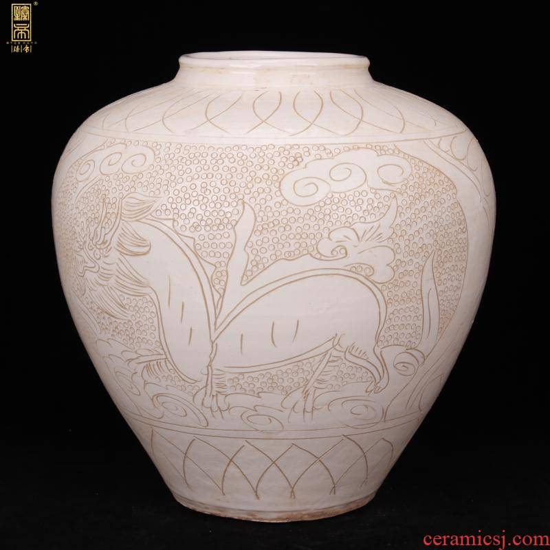 Jingdezhen imitation song dynasty style typeface, white - floored carved dragon tank antique antique old vintage household soft outfit furnishing articles hotel company