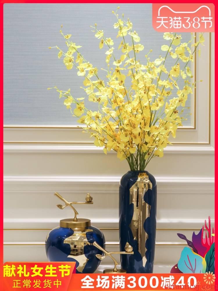 Light European - style key-2 luxury mesa vase furnishing articles American sitting room porch ark of new Chinese style decoration ceramic flower flower
