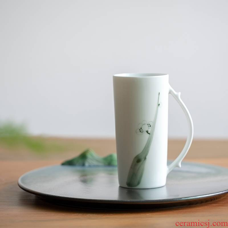 By patterns between landscape four gentleman 's hand the cup of jingdezhen ceramic keller large capacity home office
