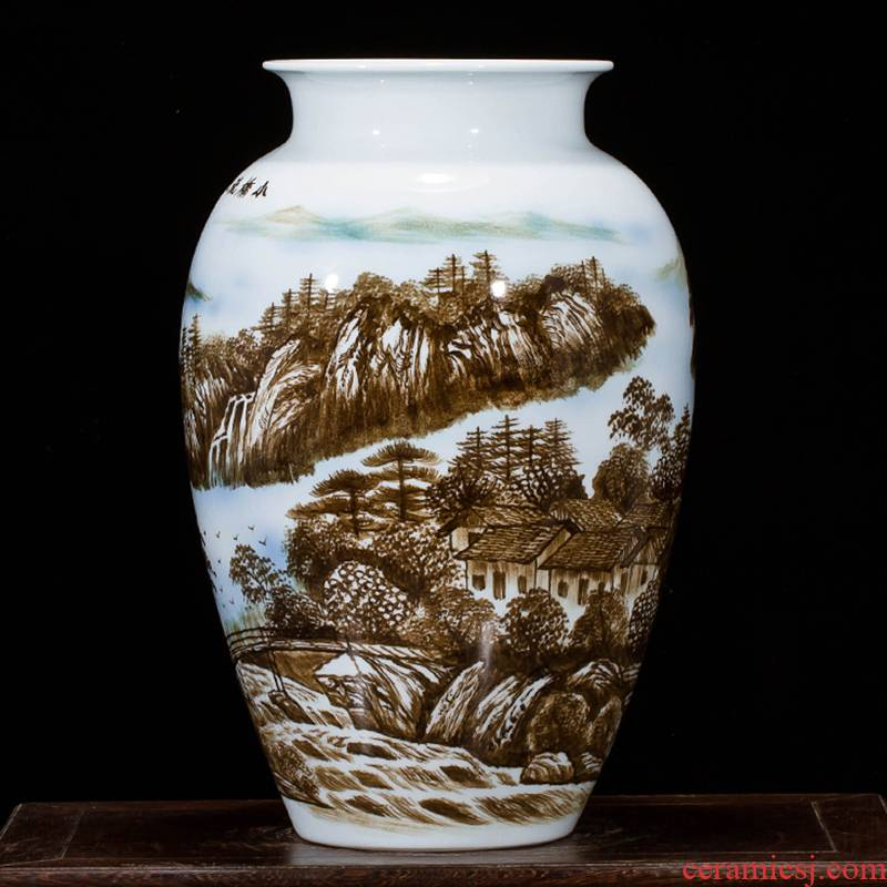 Jingdezhen ceramics hand - drawn pastel landscape painting vases, flower arranging furnishing articles sitting room porch of new Chinese style household act the role ofing is tasted