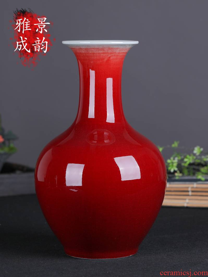 Jingdezhen ceramic vases, new classical Chinese style furnishing articles red decorations sitting room creative retro flower arrangement