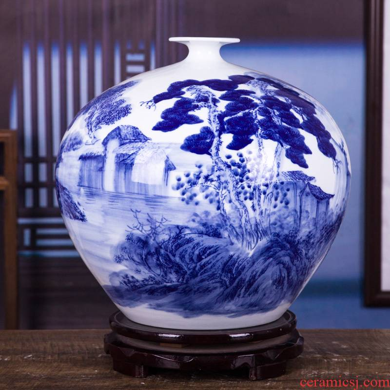 The Master of jingdezhen ceramics by hand draw blue and white porcelain vase peony pomegranate bottles of jade pool rich ancient frame furnishing articles