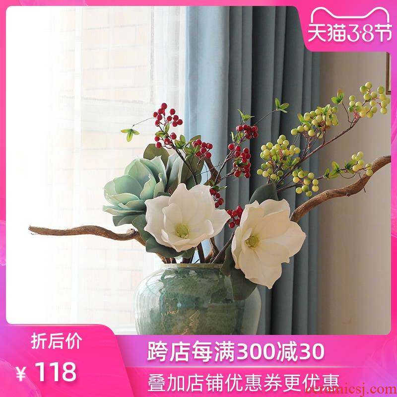 Modern American Mediterranean style ceramic vase simulation flower suit sitting room place indoor household decoration