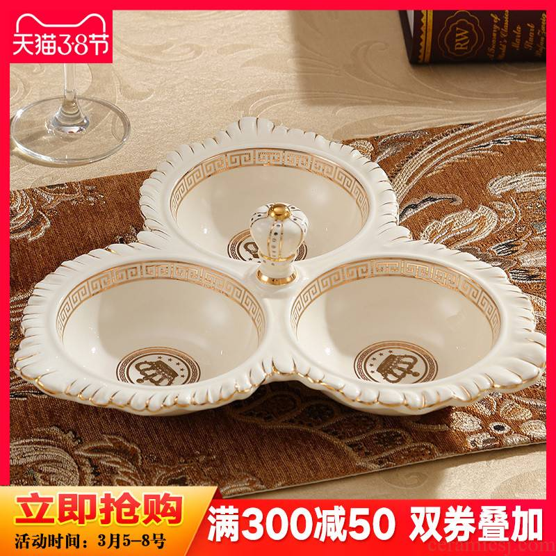 European ceramic dry fruit bowl sitting room of household multifunctional candy dish creative I and contracted melon seeds dish place tea table