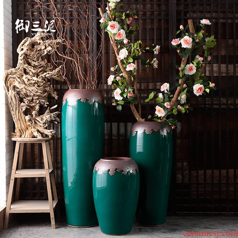 Furnishing articles decoration to the hotel villa living room dry flower POTS restoring ancient ways of jingdezhen ceramic vase light key-2 luxury ground flower arrangement