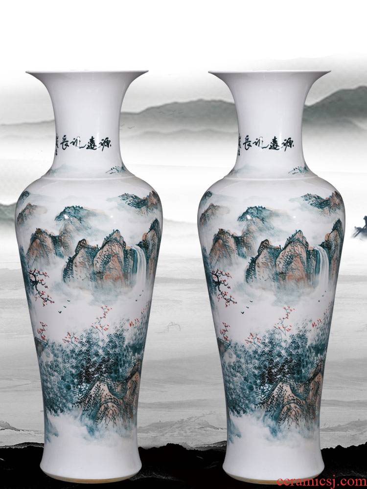 Jingdezhen ceramic hand - made landscape painting fish large vases, furnishing articles sitting room floor decoration for the opening of the new Chinese style gifts