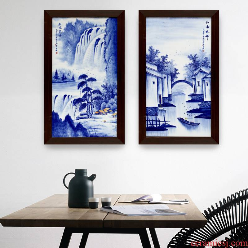 Sitting room background wall adornment of new Chinese style household jingdezhen blue and white freehand brushwork in traditional Chinese hand - made usual paintings corridor wall paintings