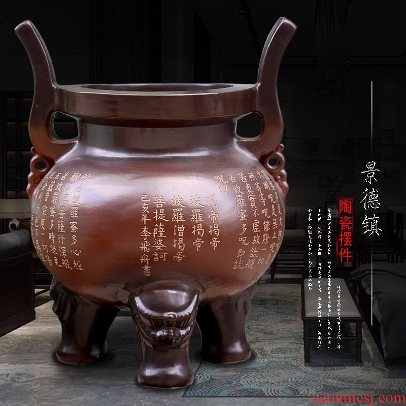Jingdezhen ceramic large furnishing articles temple to burn incense for worship Buddha enshrined archaize three - legged landing place decoration