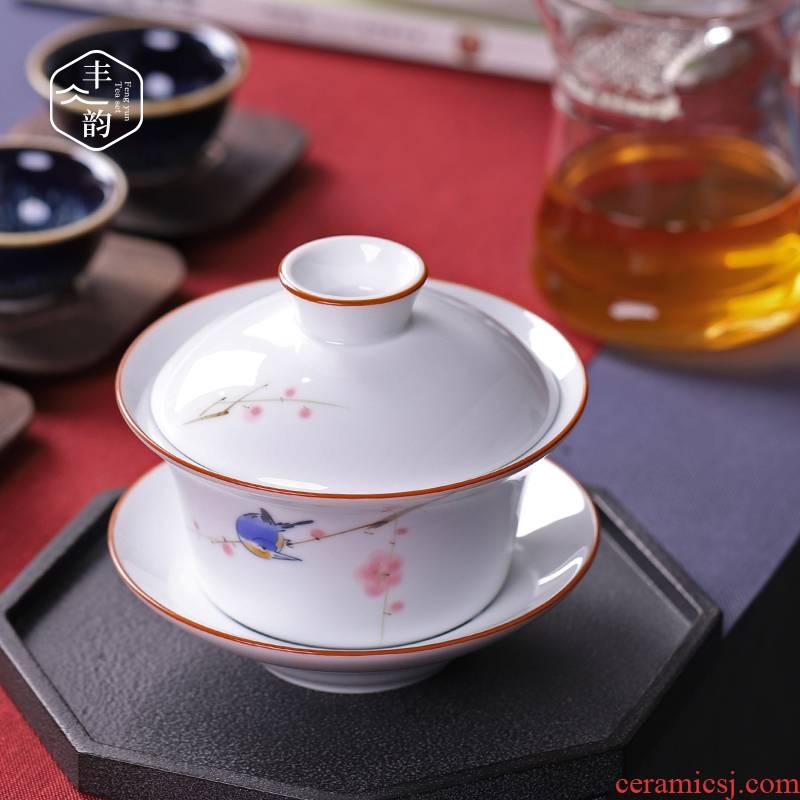 Three to 300 ml hand made white porcelain large tureen kung fu tea cups to heavy mercifully tea tureen tea bowl