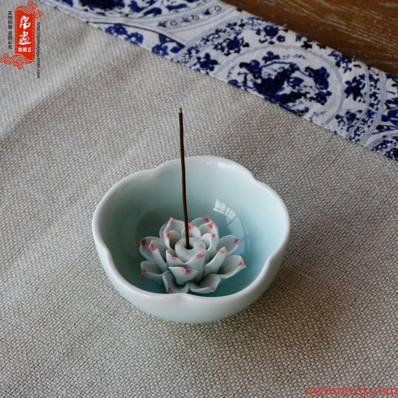 Jingdezhen ceramic aromatherapy censer furnishing articles manually shadow blue flower adornment triangle joss stick creative decoration