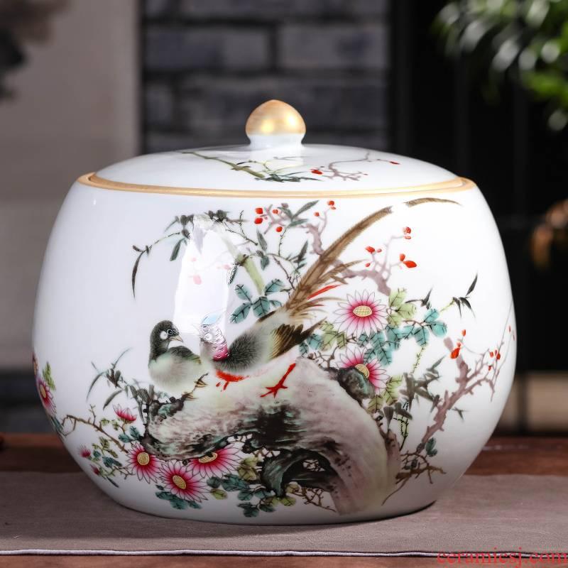 Jingdezhen ceramic tea pot storage tank region of 7 pieces of tea cake box of large tea barrel storage sealed POTS