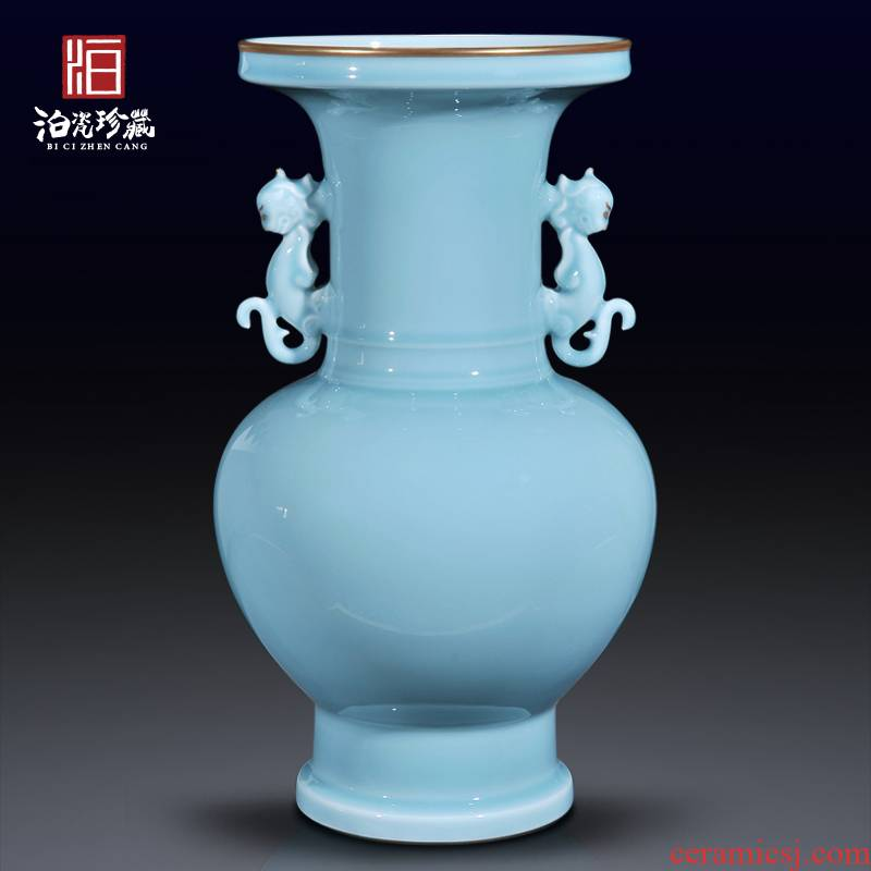 Jingdezhen ceramics imitation the qing qianlong powder blue glaze vase sitting room of Chinese style household decorations collection furnishing articles