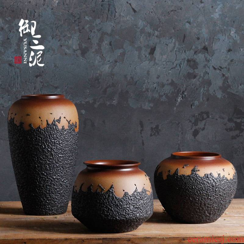 Coarse some ceramic porcelain vase manually teahouse jingdezhen ceramic dry flower pot clay retro floral flower arranging furnishing articles