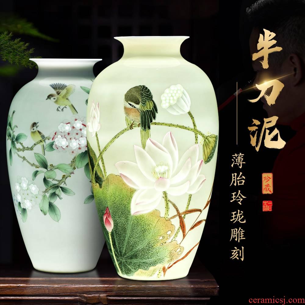 Jingdezhen ceramics hand - made vases, flower arrangement sitting room place office study ancient frame decoration decoration process