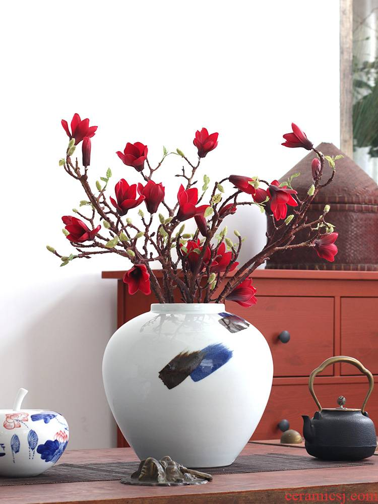 Jingdezhen ceramic furnishing articles of Chinese calligraphy circle big flower implement clear soup WoGuo flower arranging furnishing articles porcelain vase villa