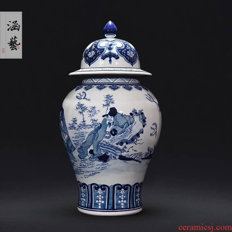 The General hand - made porcelain of jingdezhen ceramics xiangshan characters can of new Chinese style sitting room adornment is placed craft gift