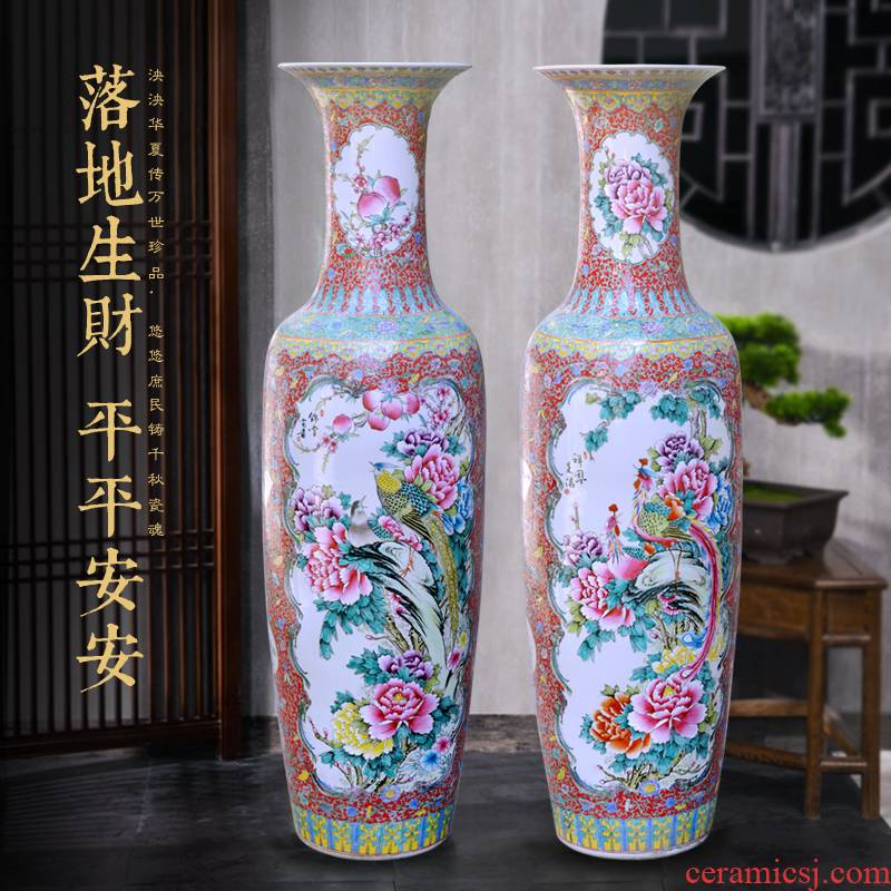 Jingdezhen ceramic hand - made pastel hotel opening large household adornment office furnishing articles of large vase