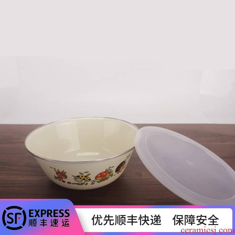 Enamel Enamel fresh salad bowl with lid mixing bowl bowl bowl dish bowl of refrigerator crisper