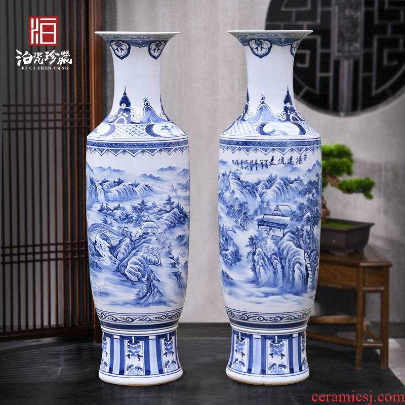 Jingdezhen blue and white ceramics archaize floor big vase hotel villa living room for the opening of the new Chinese style decoration furnishing articles