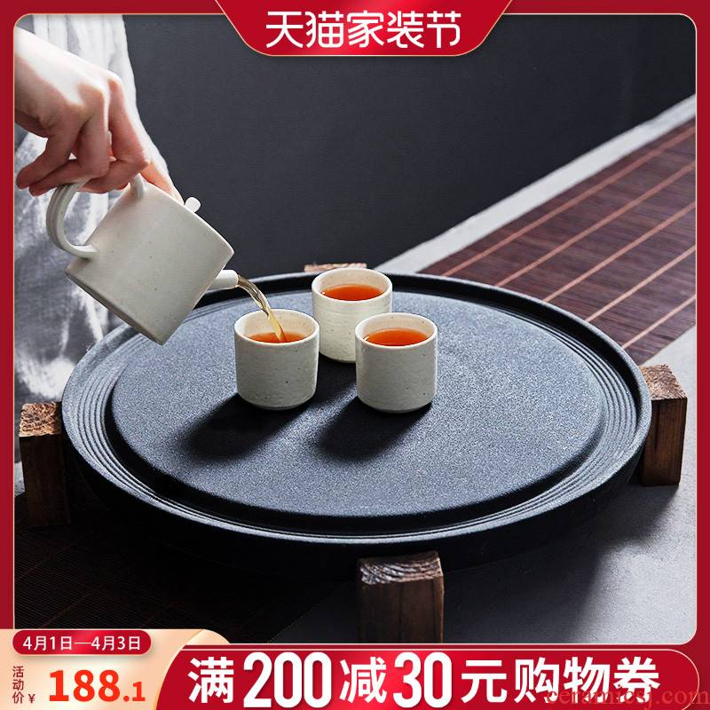 Stone mill large coarse pottery tea tray ceramic tea sets of kung fu tea set tea sea circular drainage water bearing solid wood tea base