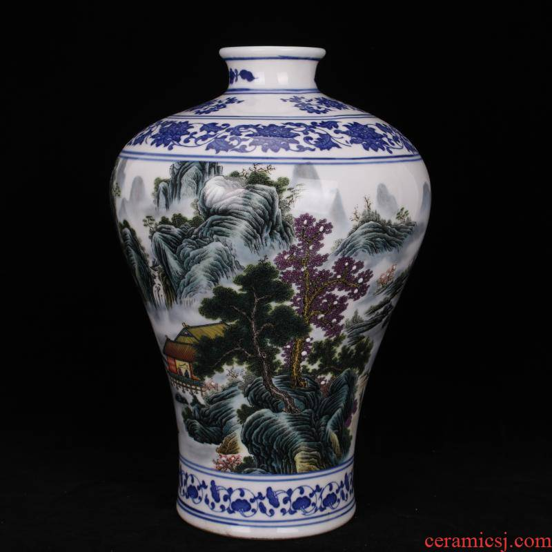 Archaize of jingdezhen porcelain qianlong landscape in mei bottles of the sitting room porch decoration of Chinese style household imitation antique furnishing articles