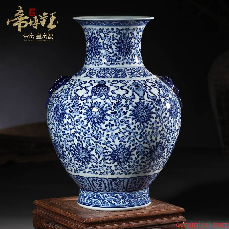 Jingdezhen ceramics imitation the qing qianlong blue tie up lotus flower sweet Chinese style household wealth vase and furnishing articles ornament