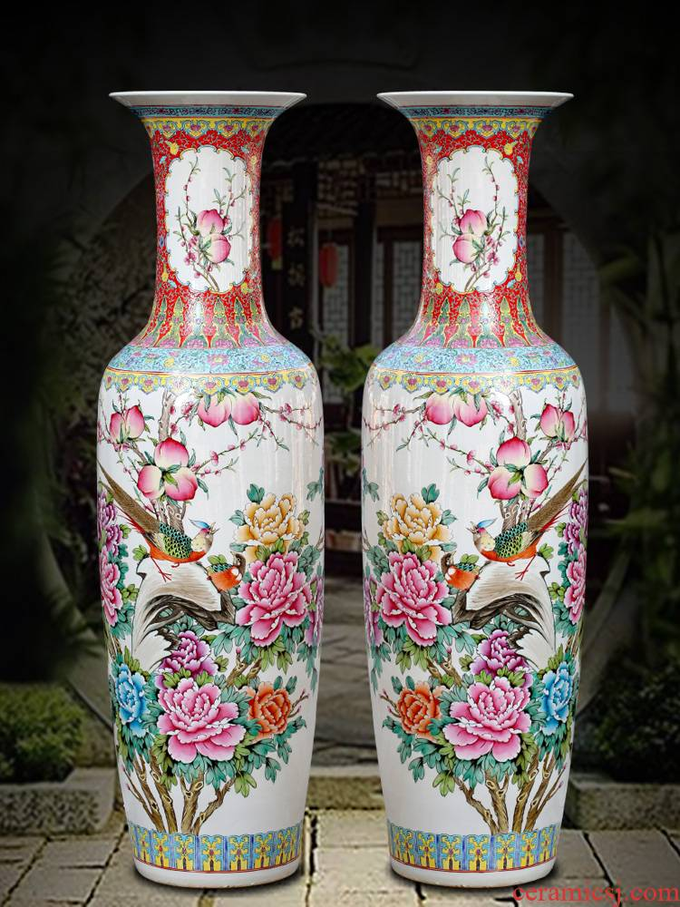 Jingde town hall of large hand pastel peach porcelain vase guest decoration large hall study furnishing articles