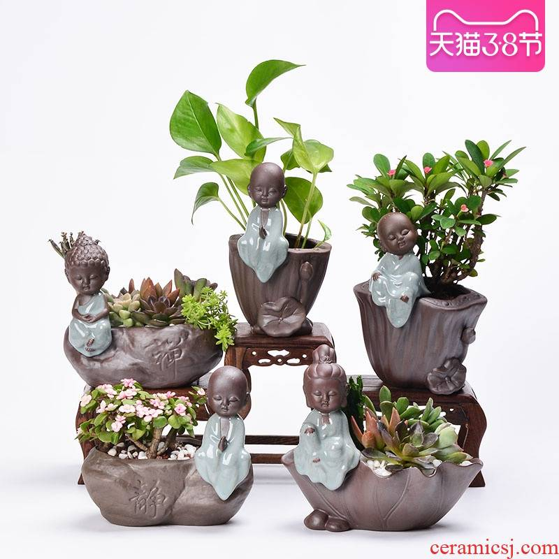 Fleshy flower pot small zen monk creative purple ceramic flower implement copper money plant grass flesh hydroponic plant containers