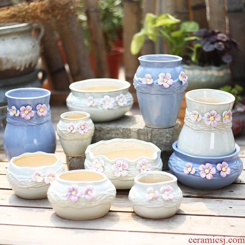 Rural pinch flower more meat pot ceramic wholesale and large diameter meat meat the plants flower pot contracted creative interior clearance