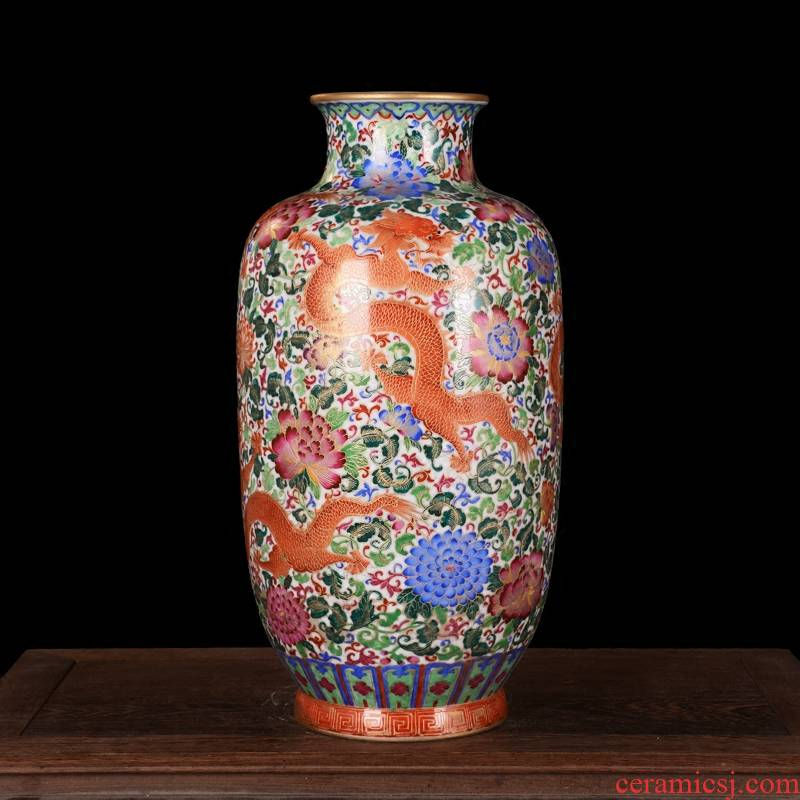 High - grade jingdezhen ceramics antique hand - made silk wulong vase furnishing articles sitting room decoration home decoration process