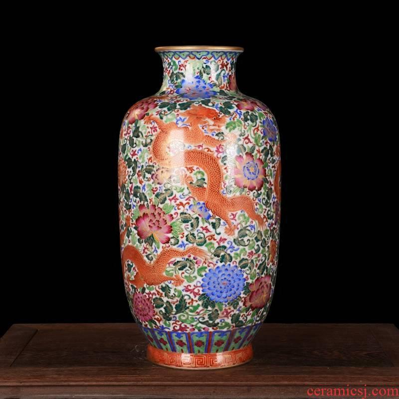 High - grade jingdezhen ceramics antique hand - made silk wulong vase furnishing articles sitting room decoration home decoration process