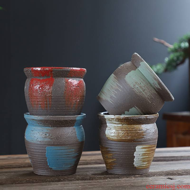 Coarse pottery flowerpot old running wholesale ceramic flowerpot more meat special creative mage high Lao - zhuang hand made flowerpot pack mail