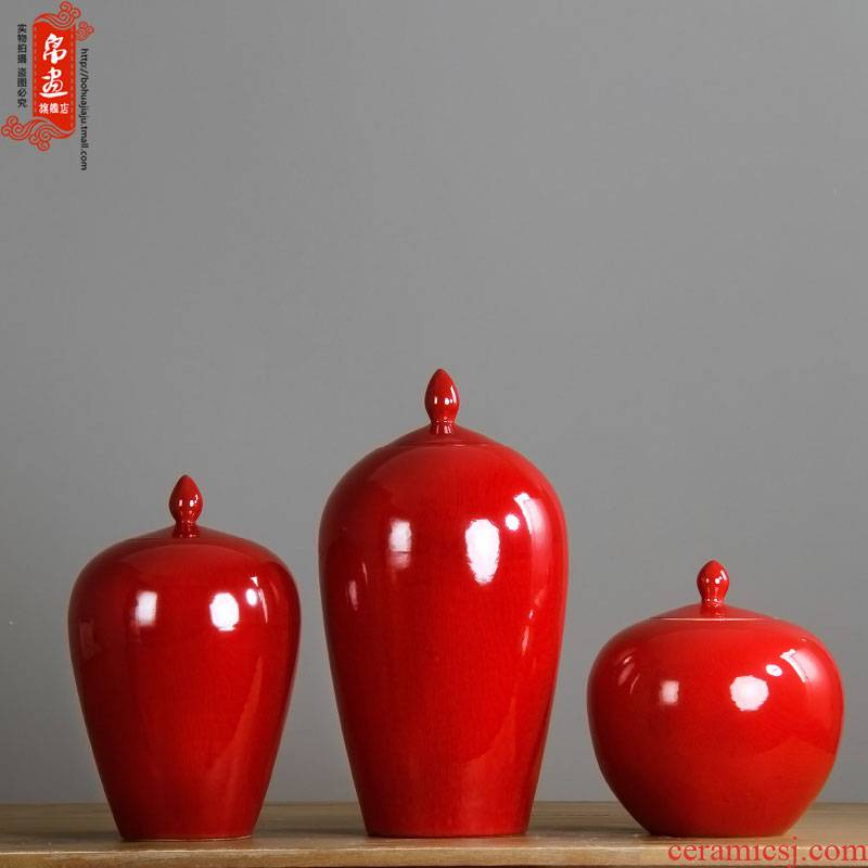 Jingdezhen ceramic vase general furnishing articles can of classical home sitting room with red flower arranging flowers, dried flowers, small expressions using